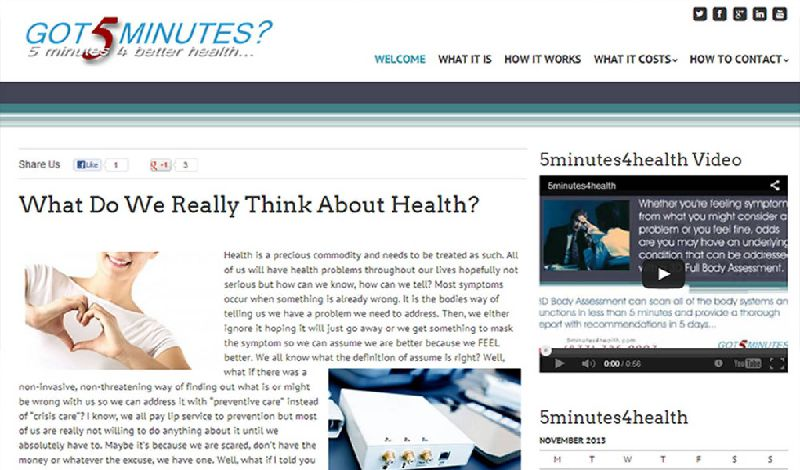 Yates Web Consulting web design for 5Minutes4Health using WordPress modified theme technologies