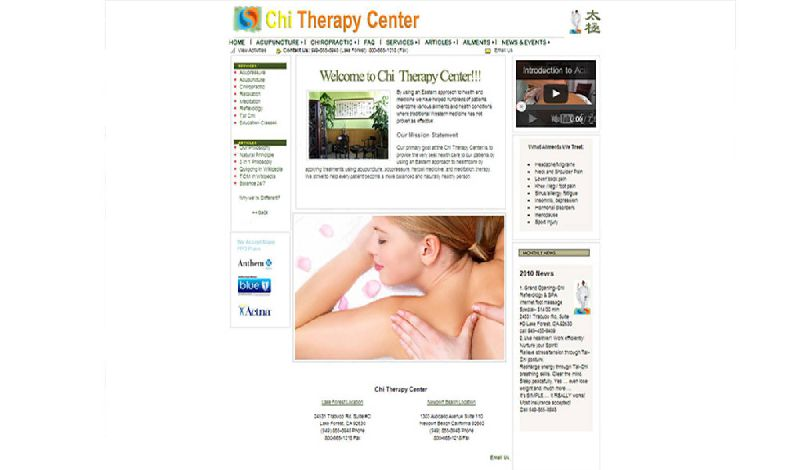 Yates Web Consulting web design for Chi Therapy Center using HTML 5 technology