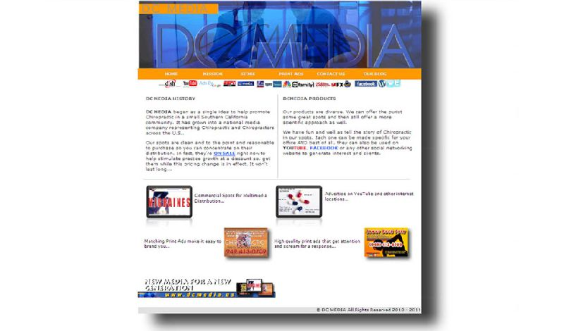 Yates Web Consulting web design for DC Media using HTML 5 and Ecommerce technology