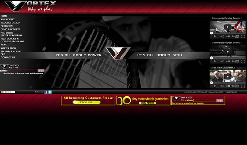 Yates Web Consulting web design for Vortex Tennis using HTML 5 technology with embeded video and animation