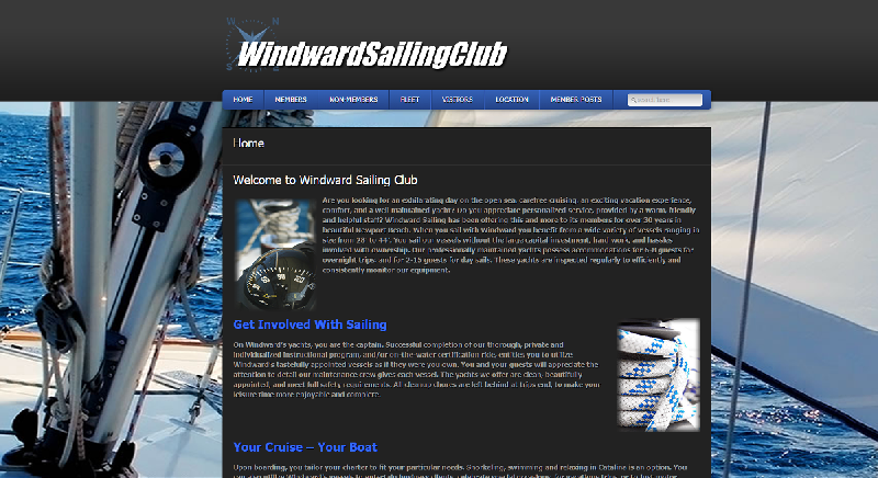Yates Web Consulting web design for Windward Sailing Club utilizing WordPress modified template technology