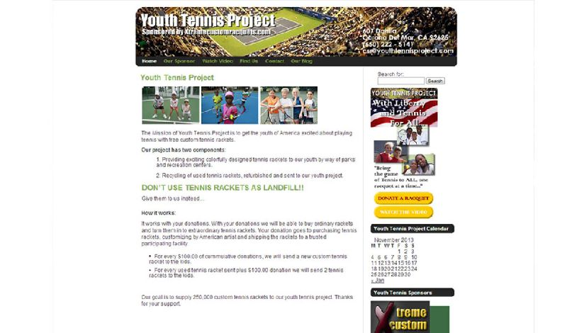 Yates Web Consulting web design for Youth Tennis Project using WordPress modified theme technology